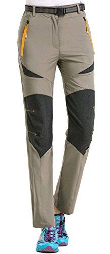 Geval de las Mujeres al Aire Libre de Secado rápido Transpirable Estiramiento de excursión Subir Pantalones M Caqui Profundo