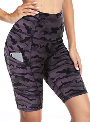 CAMPSNAIL - Yoga-Shorts für Damen in 20,3 Cm Schwarz Grau Camo, Größe XS
