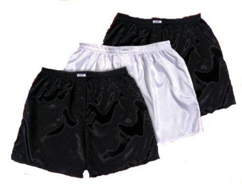 (XL) Schwarz Weiß Schwarz 3er Pack Boxershort Boxershorts Herren Unterwäsche Satin Glanz Boxer Short