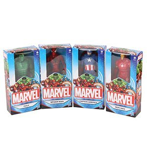 Marvel Ensemble de 4 Figurines 6 pouces (15 centimètres); Spider-Man, homme de fer, Captain America & Hulk