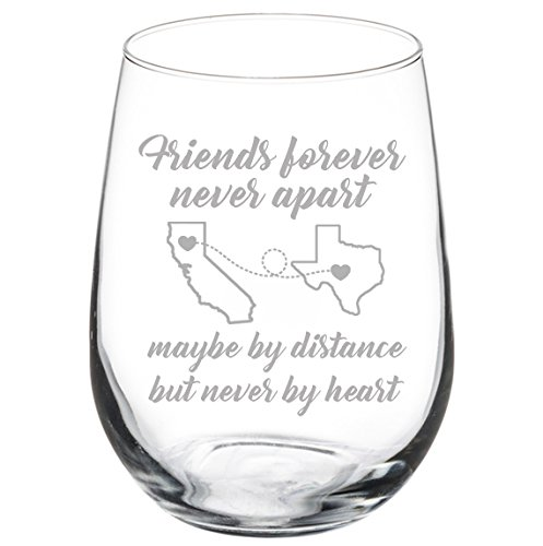 Engraved Best Friend Wine Glass Friends Forever White Red Wine Custom Personalized Long Distance Friendship Gift (Stemless 17 oz)