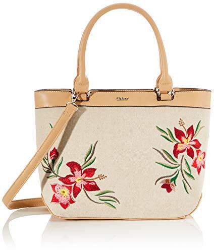 Gabor Shopper Damen, Beige, Canaria, 36x14x26,5 cm, Handtasche, Schultertasche, Blumenmuster