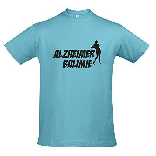 T-Shirt ALZHEIMER BULIMIE - FUN KULT SHIRT S-XXL , Atoll blue - schwarz , L