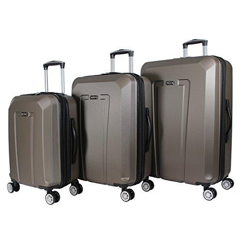 Kemyer 3-Piece Hardside Upright Spinner Rolling Luggage Set, Light Brown