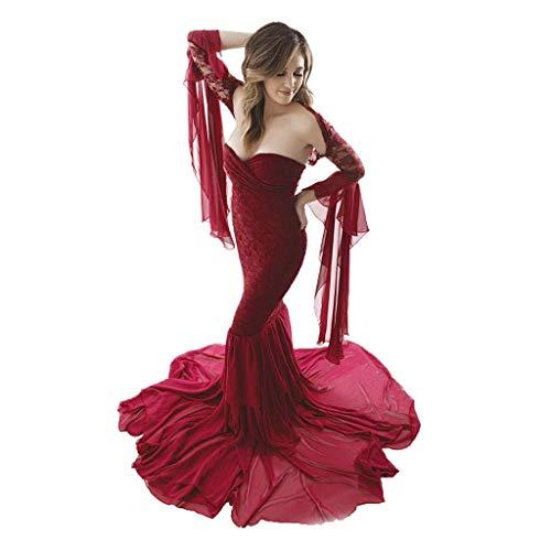 Lenfesh Elegante Abendkleider für Schwangere Umstandskleider für Fotoshooting Ballkleid Schwangerschaftsmode Umstandskleid Festlich Kleid aus Schulter Spitze Tüll Lange Kleid