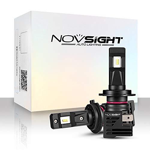 NOVSIGHT Kit Conversione H7 Lampadine Bulbi LED Auto, Faro LED Automatici 10000LM / coppia 55W / coppia 6000K Bianco, Lampade Sostitutive per Lampadine Alogene/Xenon Regolabili