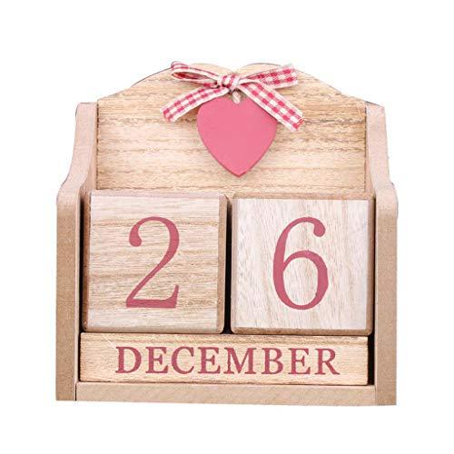 KLOVA Calendario Vintage, Calendario perpetuo de Madera Vintage, visualización de la Fecha del Mes, Bloques eternos, Accesorios de fotografía, Accesorios de Escritorio