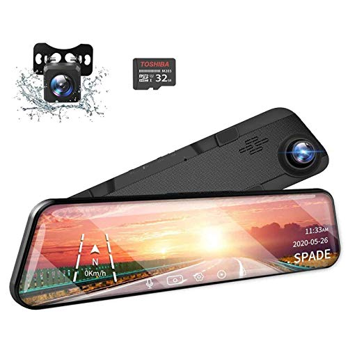SPADE 12' 2.5K Mirror Dash Cam Touch Screen Voice Control, GPS Tracking, Waterproof Backup Rear View...