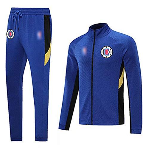 YDYL-LI Juego De Chándales Uniforme De Camiseta De Baloncesto - Los Angeles Clippers Sportswear Traje De Costura Color Baloncesto con Capucha Capucha Pantalones De Jogging Fan Jerseys,Azul,M