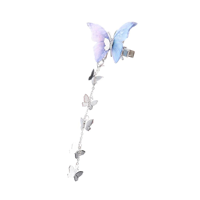 救急車レキシコン馬鹿Perfeclan 女の子 ガールズ バレッタ ヘアクリップ メッシュの蝶 精霊 王女 和装対応 贈り物 - 青