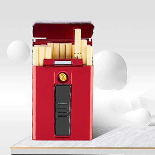 Zidao De Carga USB de Cigarrillos Caso más Ligero del Cigarrillo, Portátil agotarse Y Estilo luz es fácil de Carga Carcasa metálica de Alambre eléctrico del Cigarrillo del USB,Rojo