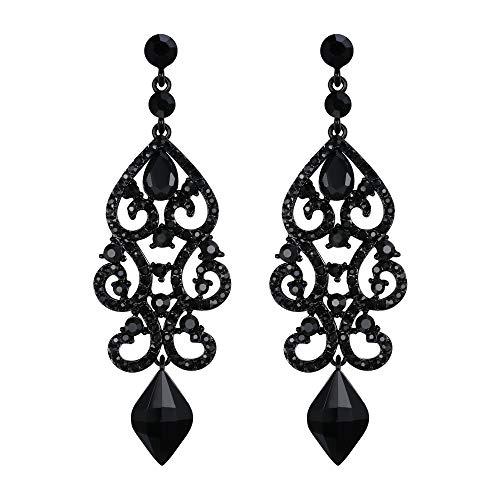 EVER FAITH Mujer Cristal Rhinestone Art Deco Boda Floral Araña Colgante Pendientes Tono Negro