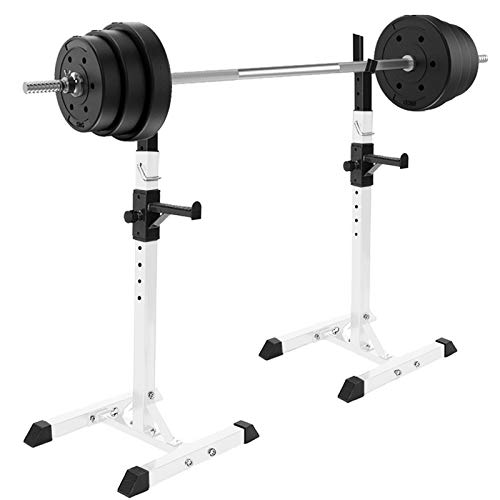 Lipoipo Adjustable Barbell Rack, Squat Rack Stand Squat Rack Barbell Free Bench Press Portable Dumbbell Rack Dip Bar Station for Home Gym, Portable Dumbbell Racks Stands, Max Load 550lbs (A-White)