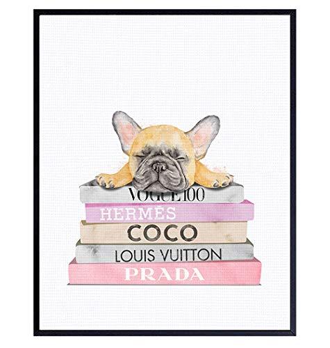 French Bulldog Decor - French Bulldog Gifts - Designer, Coco, Prada, LV Wall Decor - Dog Wall Decor - Puppy Wall Decor - High Fashion Design - Glam Wall Art - Dog Lover Gifts - Cute Dog Wall Art