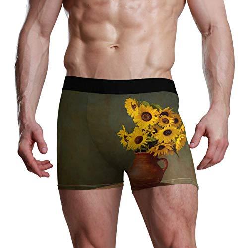 Elroy Gibbon Herren Boxershort Boxer Sonnenblume in einem Keramikvasenmuster Männer Unterhosen Unterwäsche,6,XXL
