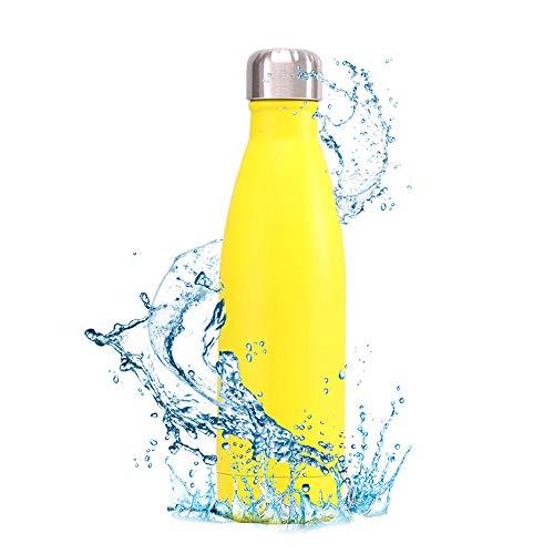 Yialia Botella de Agua con Aislamiento al vacío de Acero Inoxidable 500ML Botella en Forma de Cola Mantenga 12 Horas Frasco de Metal a Prueba de Fugas de Metal Reutilizable frío y Caliente Botell