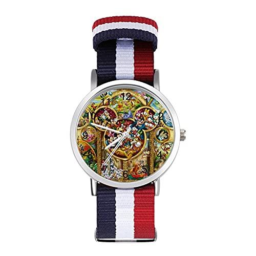 Mickey Mouse Beauty Beast Tinker Bell Peter Pan, reloj de ocio para adultos, moderno, hermoso y personalizado de aleación, reloj deportivo casual para hombres y mujeres
