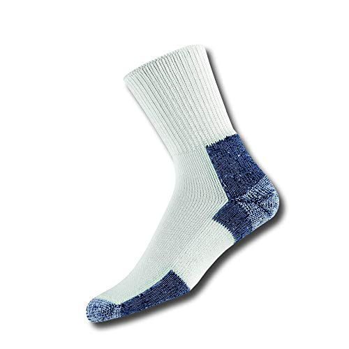 Thorlos XJ Max Cushion Running Crew Socks, White/Navy, Large