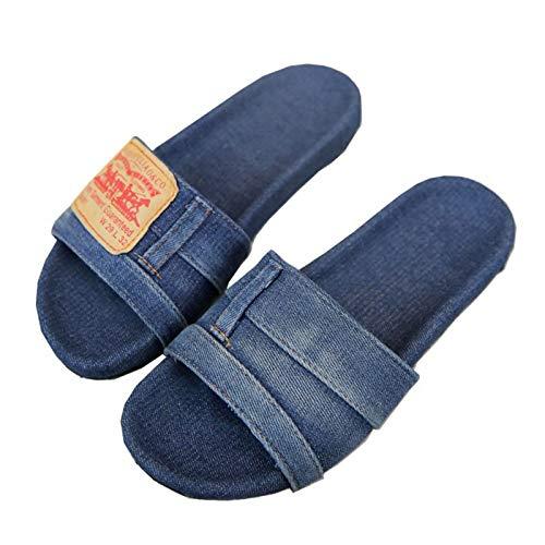 Victoy Sandalias de mezclilla elegantes para mujer, antideslizantes, a la moda, de verano, zapatillas casuales.