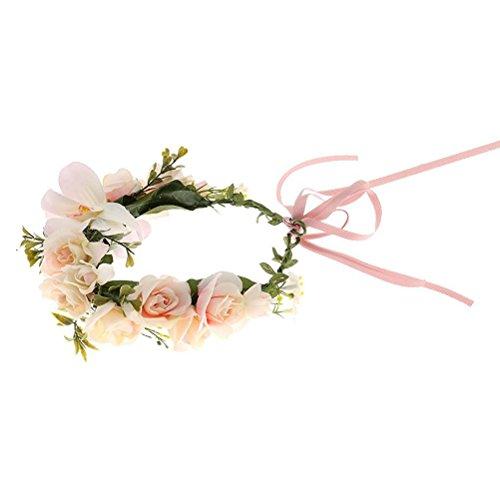 WINOMO Fleur Bandeau Couronne Guirlande Florale Boho pour Mariage Festival (Rose Clair)