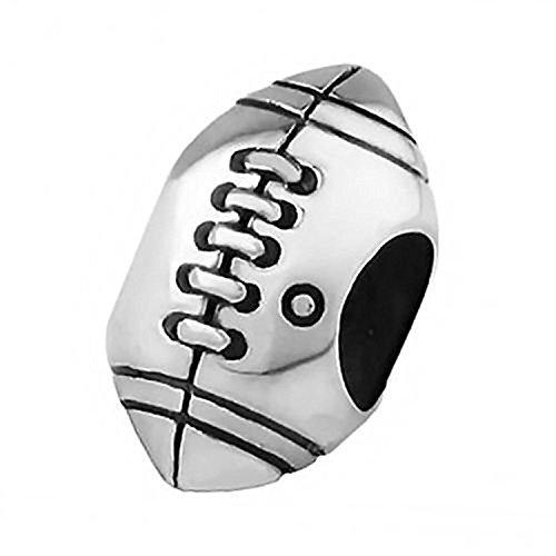 Rugby/American Football Sterling Silber Charm-Anhänger zum Auffädeln, sehr detailliert, Perle für Charm-Armbänder