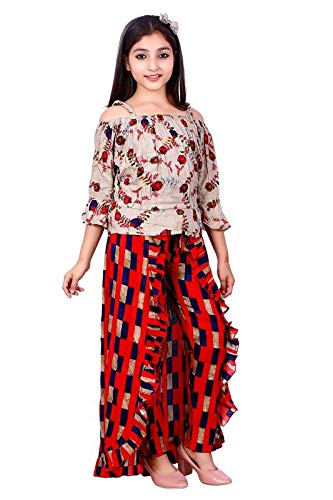 Fashion Fly Girl's Top Skirt Maxi Dress (Red, 12-13 Year)