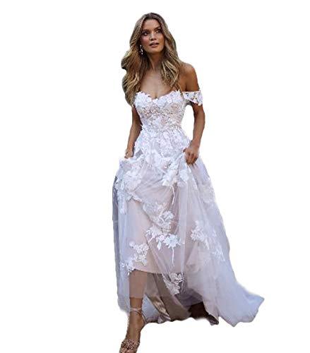 HYC Country Boho Hochzeitskleider Sexy Rückenfrei A Linie Schulterfrei Applique Tüll Lang Sommer Brautkleider Bohemian Gr. 42, weiß