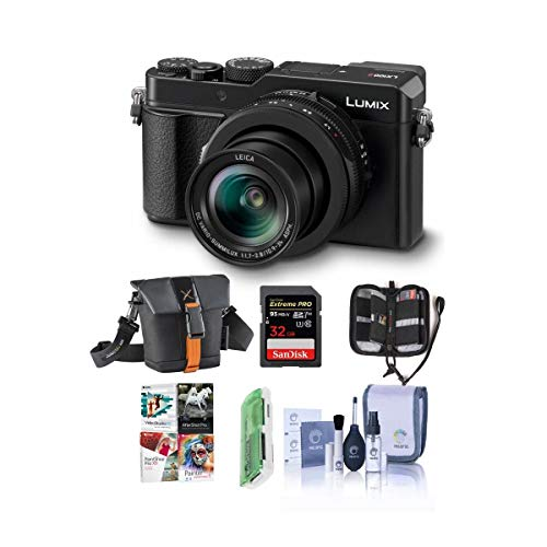 Panasonic Lumix DC-LX100 II Digital Point and Shoot Camera with 24-75mm Leica DC Lens, Black - Bundle with Camera Case, 32GB SDHC U3 Card, Cleaning Kit, Memory Wallet, Card Reader, PC Software Pack