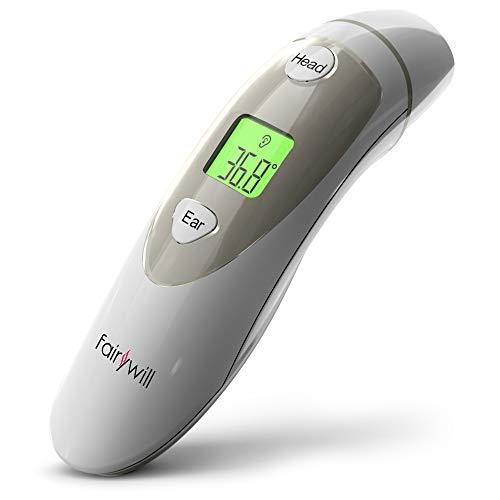 Termometro Bambini Fairywill Orecchio e Fronte Termometro,4 in 1 Termometro Digitale per Neonati,Bambini,Adulti e Oggetti, Allarme Febbre con CE e FDA Certificazione(JPD-FR401)
