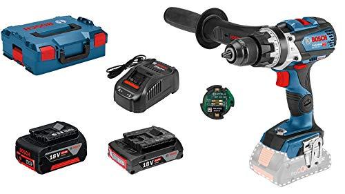 Bosch Taladro percutor inalámbrico con sistema de 18 V GSB 18 V-85 C (par máximo: 85 Nm, módulo de conectividad incluido, batería de 1x5.0 Ah, batería de 1x3.0 Ah, en L-BOXX 136): Amazon Edition