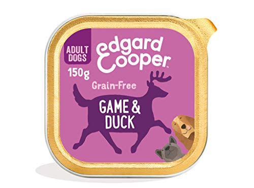 Edgard & Cooper comida humeda perros adultos sin cereales, natural con Venado y Pato. Alimentación balanceada con Omega 3 para un pelaje suave y brillante. Carne magra fresca en paté. Pack