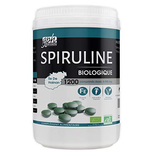 Spiruline Bio AB 500 MG - 1200 comprimés - Riche en Protéines, Phycocyanine, Chlorophylle, Caroténoïde et Fer.