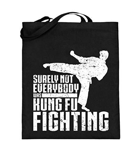 Chorchester Ideal para los fans de Kung Fu de artes marciales – Bolsa de yute (con asas largas)., color Negro, talla 38cm-42cm