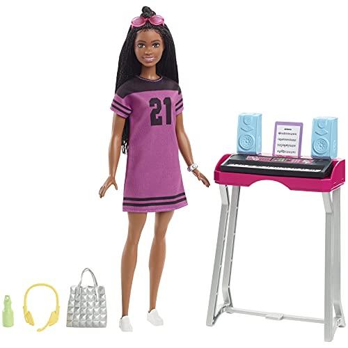 Barbie Brooklyn Estudio de grabación Muñeca afroamericana con set de juego y accesorios musicales de juguete, regalo para niñas y niños +3 años (Mattel GYG40)