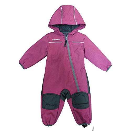 Outburst - Baby Kinder Mädchen Softshell-Overall Schneeanzug gefüttert wasserdicht 10.000 mm Wassersäule atmungsaktiv Winddicht, Berry Mel. - 1414403167 - Größe 104