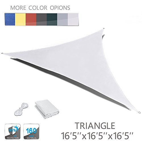 LOVE STORY 16'5'' x 16'5'' x 16'5'' Triangle Beige Waterproof Sun Shade Sail Perfect for Outdoor Patio Garden