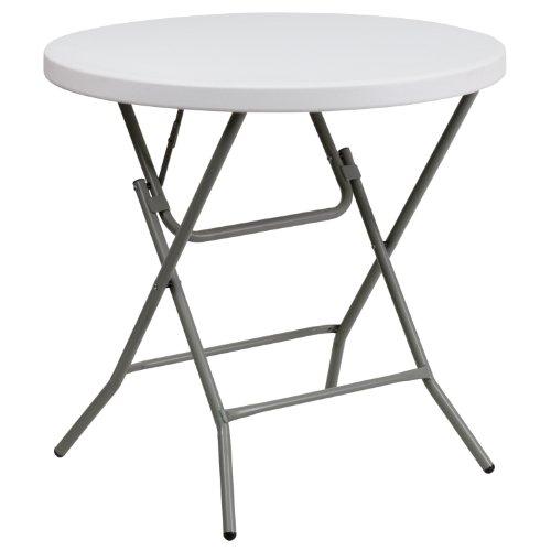 "Flash Furniture 32"" Round Granite White Plastic Folding Table"