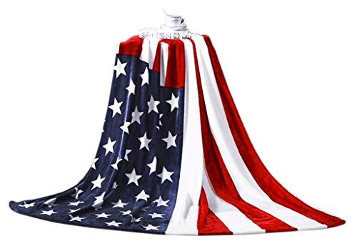 JINTN Premium Flanell Kuscheldecke Super Soft Wendedecke Wohndecke mit Amerikanische Flagge Muster Dicke Warm Sofadecke Couchdecke Flausch Fleecedecke für Sofaüberwurf oder Wohnzimmerdecke, 150X200CM