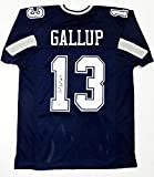 Michael Gallup Autographed Blue Pro Style Jersey- Beckett W Auth Black