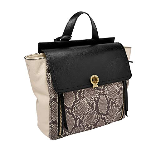 Fossil Women's Amelia Leather Backpack Handbag, Taupe Python