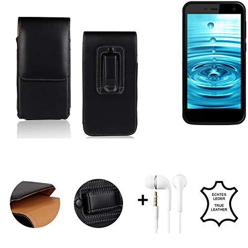 K-S-Trade® Leder Gürtel Tasche + Kopfhörer Für Energizer H500S Seitentasche Belt Pouch Handy-Hülle Gürteltasche Schutz-Hülle Etui Schwarz 1x