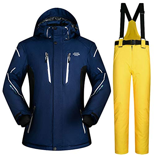 HXSKI Heren Ski Jas en Broeken Set, Winddicht, waterdicht, warm, Ademend, Professionele Kleurrijke Printed Ski Jas Pants Suit