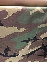 Woodland Camouflage Nylon Ripstop Fabric, Water Repellent, Fire Retardant