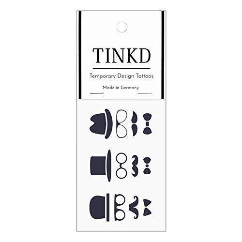 TINKD Klebe Tattoo-Abziehbilder - Hut Moustache Brille Fliege - Made in Germany
