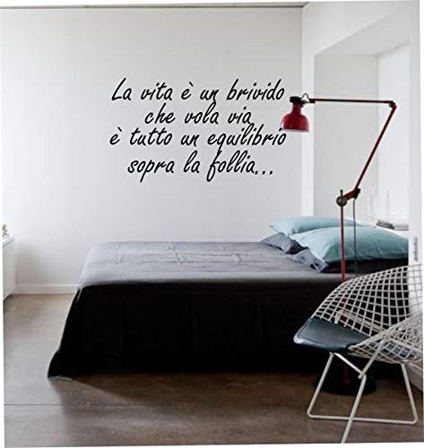 Wall Stickers Adesivo murale Frase La Vita è Un brivido Che vola Via (50 x 30 cm) - Adesivi murali Decorazioni Interni by tshirteria