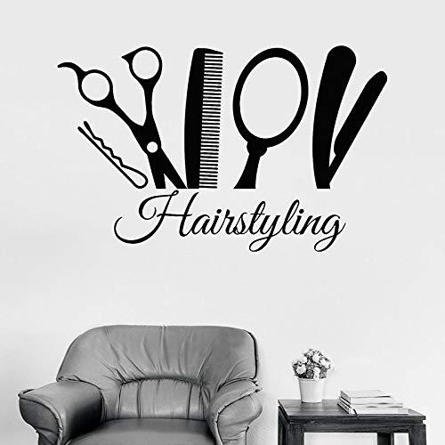 Peinado tatuajes de pared estilista herramientas de peluquería puerta y ventana pegatinas de vinilo peluquería salón de belleza interior A8 42x66cm