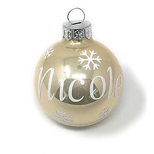 Weihnachtskugel mit Name aus Glas 6cm Wunschtext Creme Glänzend