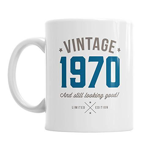 Mainly Mugs Taza de café azul vintage para 50.o regalo de cumpleaños 10 onzas Blanco