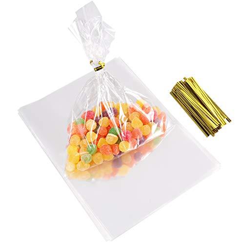 100pcs Sac Plastique Transparent Sac OPP avec Liens Torsadés 8cm pour Mariage Biscuits Cadeau Bonbon Alimentation Fourniture