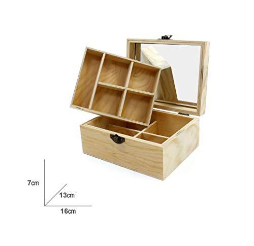 takestop® opbergdoos, 9 vakken, 16 x 7 x 13 cm, met spiegel van hout, opbergdoos, opvouwbaar, voor bureau, tafel, huis, kantoor, theekopje etc.